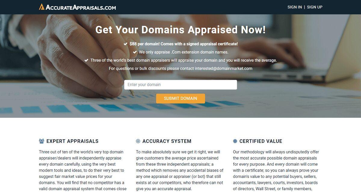 AccurateAppraisals.com fournit un nouveau service d'évaluation des noms de domaine